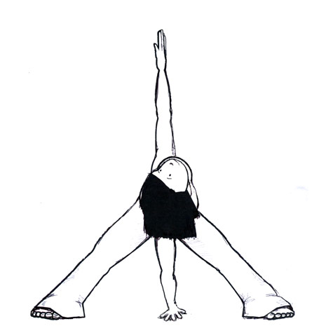 Wide-Legged Standing Forward Bend with a Twist Yoga Pose